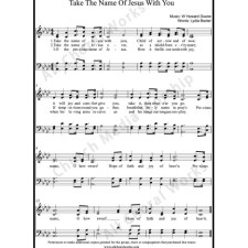 Take the name of Jesus with you Sheet Music (SATB) with Practice Music tracks. Make unlimited copies of sheet music and the practice music. Precious Name, O how sweet Sheet Music (SATB)