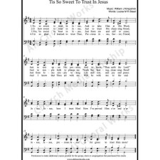 Tis so sweet to trust in Jesus Sheet Music (SATB) with Practice Music tracks. Make unlimited copies of sheet music and the practice music.