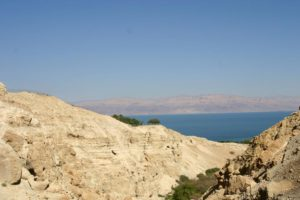 View of the Dead Sea from the wilderness