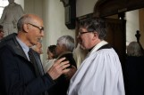The Dean of Ross, the Very Reverend Christopher Peters, in earnest conversation with George Hughes.