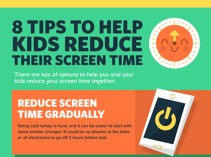 8 Tips To Help Kids Reduce Their Screen Time Infographic