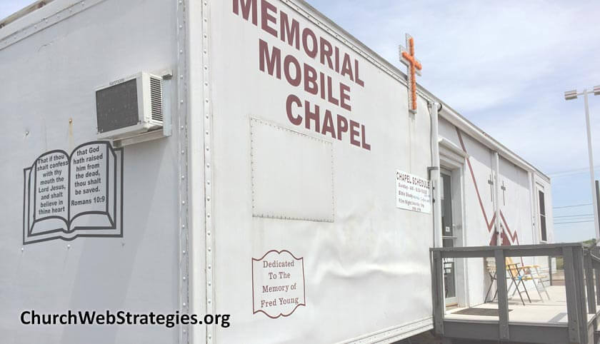 truck trailer modified to be a mobile church