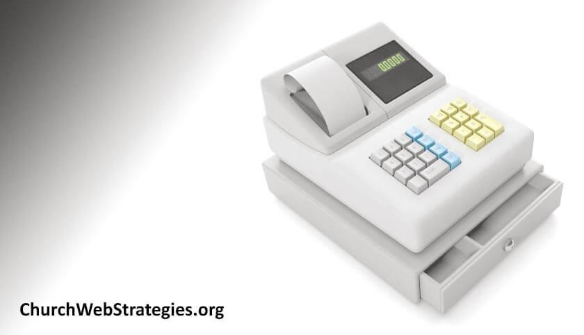 cash register sitting on table