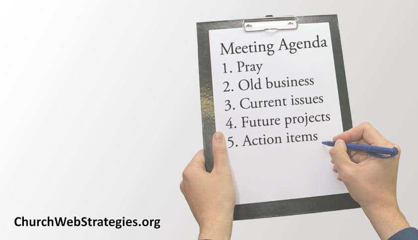 Clipboard with meeting agenda