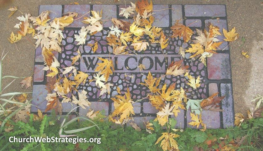 leaf-covered welcome mat