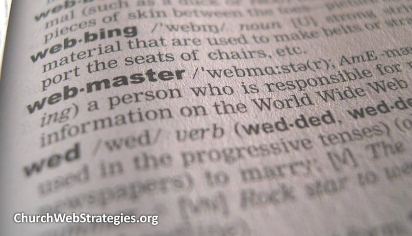 close-up of dictionary entry for webmaster