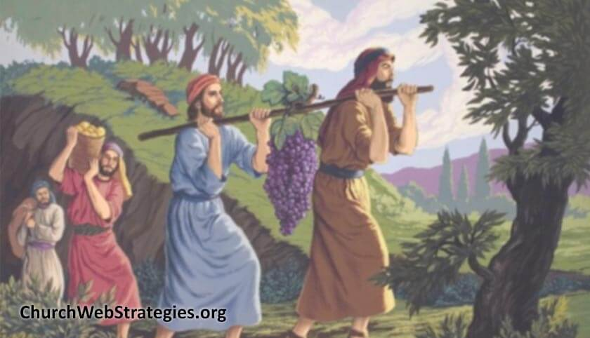 Hebrew scouts carrying large bunches of grapes