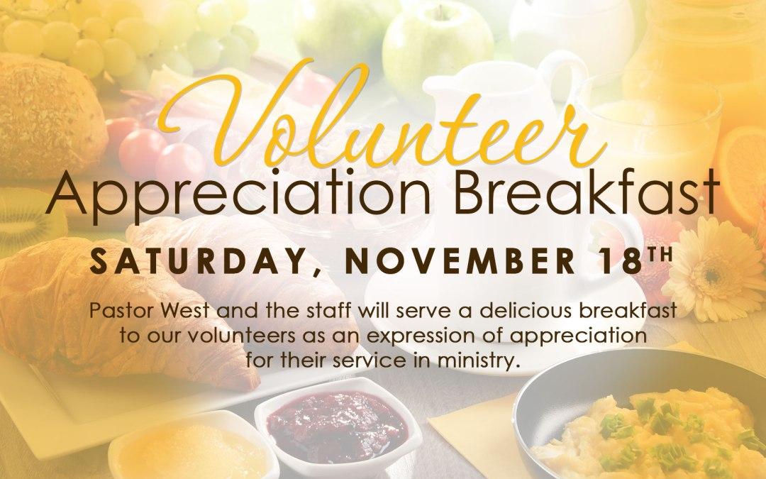 RSVP Today for the Volunteer Appreciation Breakfast