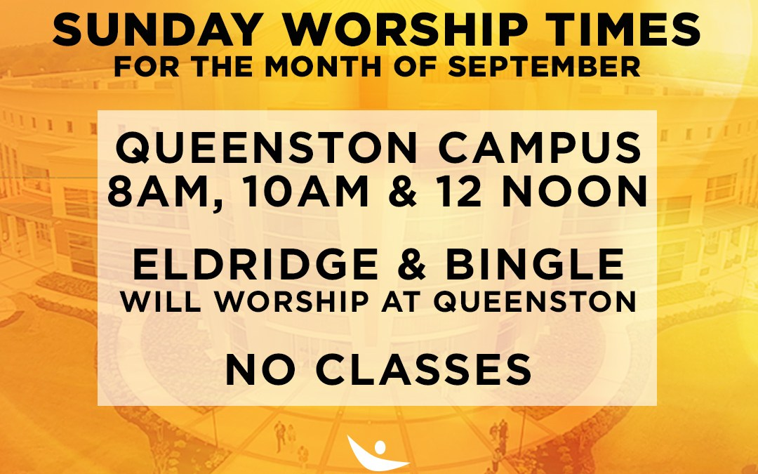 Sunday Worship Times for the Month of September
