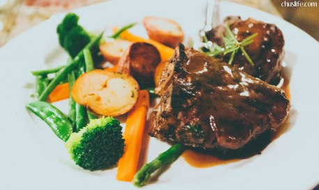 Grilled Loin Lamb Chops with Fresh Rosemary Demi-Glace Sauce