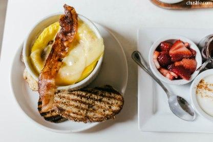 Bacon and gouda egg souffle