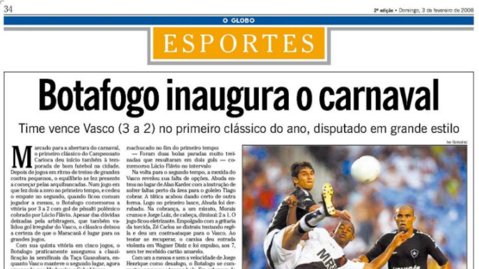 Botafogo Vasco Maracanã carnaval 2008 O Globo