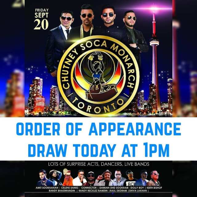 2019 Chutney Soca Monarch Toronto Order Of Appearance