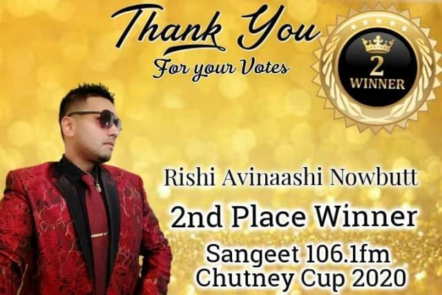 Rishi Nowbutt is the Vice Champion of the 2020 Sangeet Chutney Cup