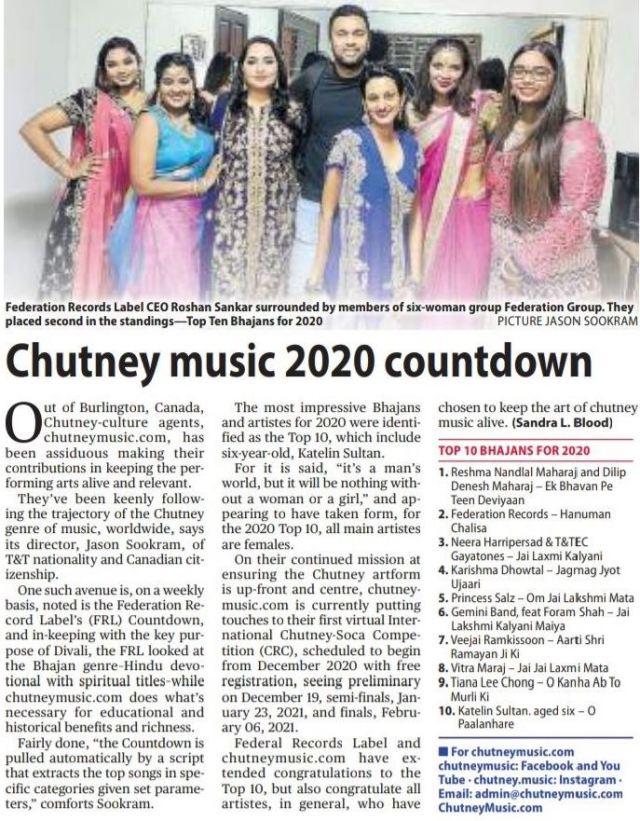 The Trinidad Guardian features the Chutneymusic.com 2020 Top 10 Bhajans Countdown
