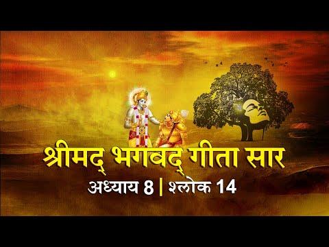भगवद गीता सार अध्याय 8 श्लोक 14 with lyrics| Bhagawad Geeta Saar Chap 8- Verse 14| Shailendra Bharti