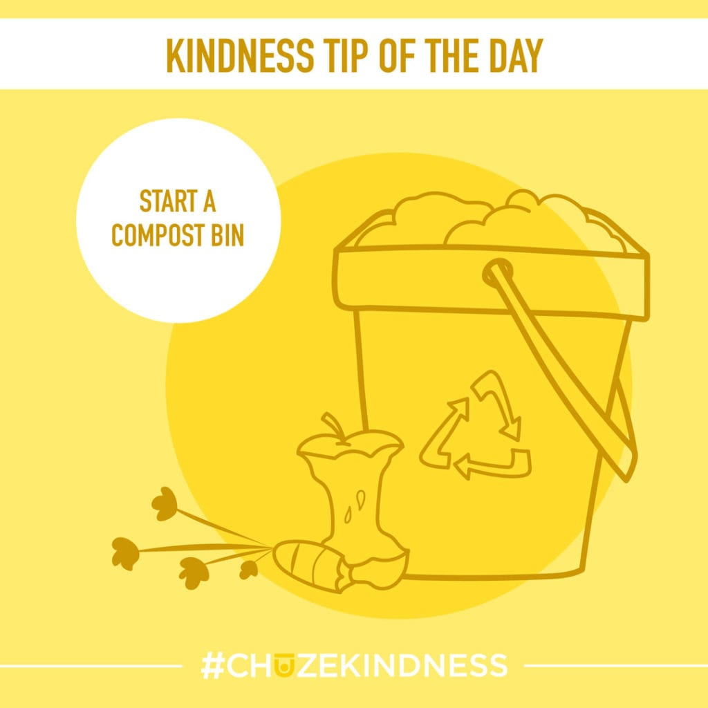 """Yellow Kindness Tip Of The Day Graphic with a compost bin and apple core that says, """"Start a compost bin."""""""