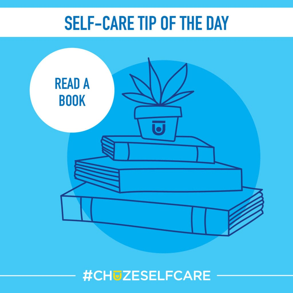 """A blue illustration that says, """"Self Care Tip Of The Day, read a book."""""""