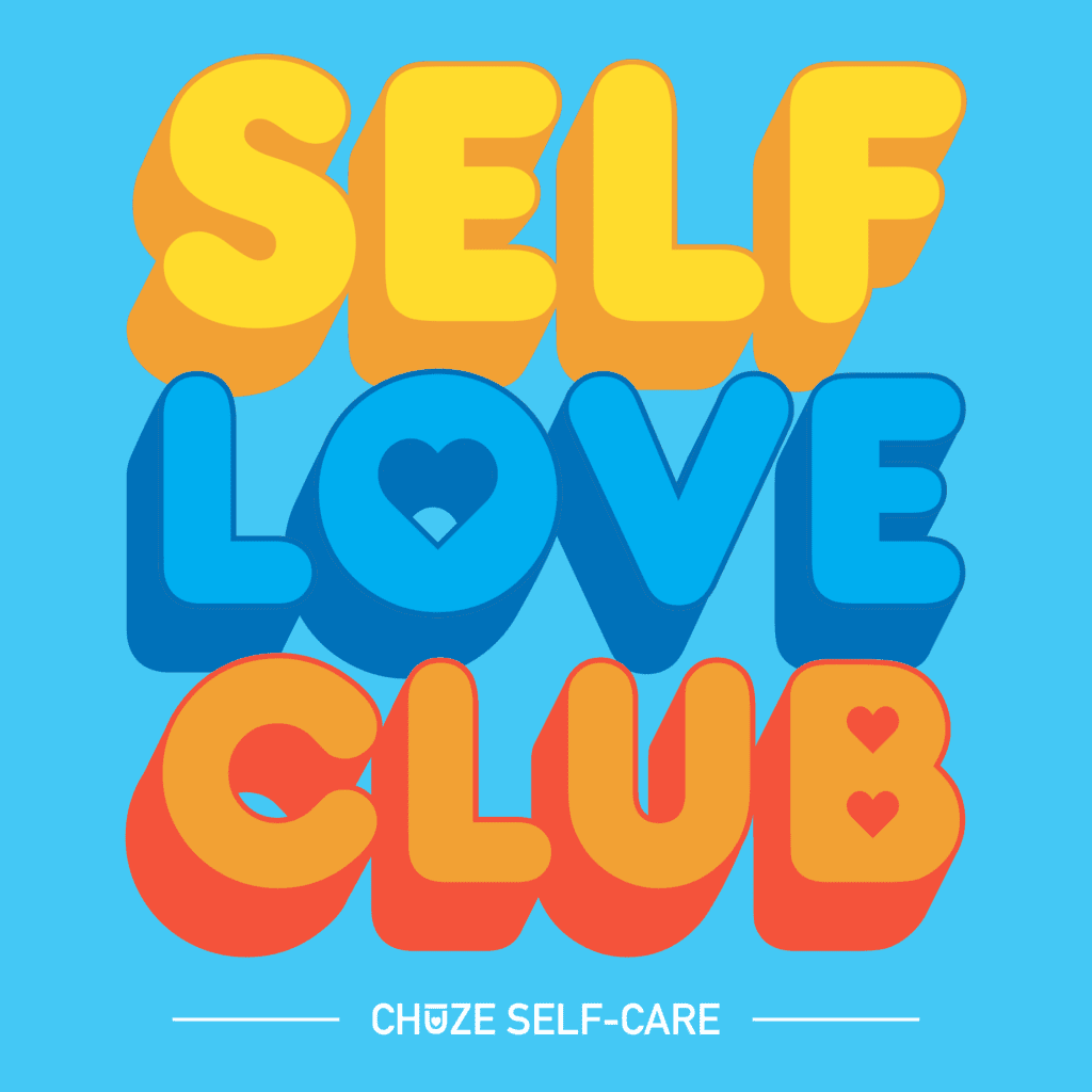 "A blue square illustration that says ""Self Love Club"" in yellow, blue, and orange bubble letters."