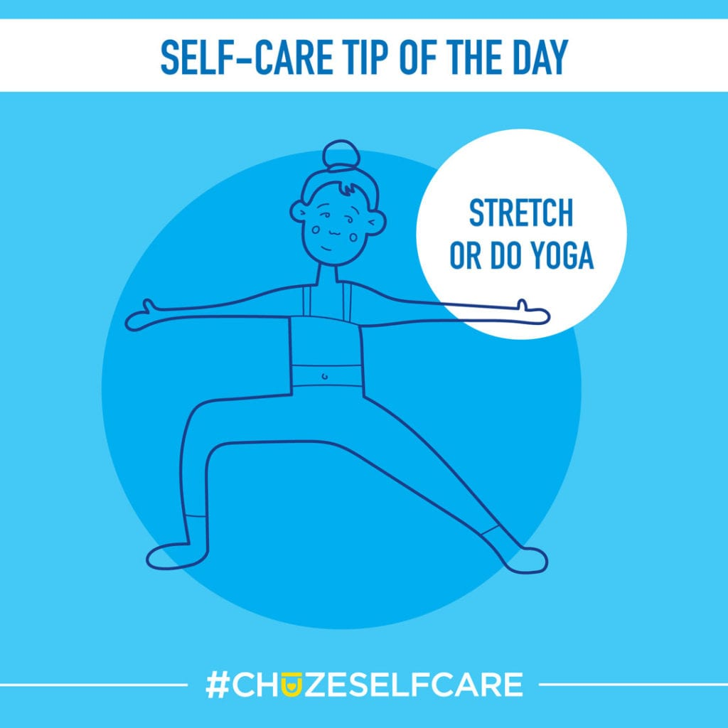 """A blue illustration that says, """"Self Care Tip Of The Day, stretch or do yoga."""""""