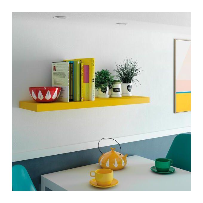 etagere murale tablette jaune l 80 cm p 23 5 cm ep 3 8 cm fixation incluse