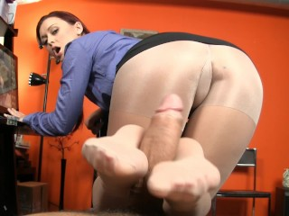 Secretary Retains Her Job By Giving Boss A Footjob
