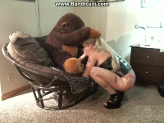 sucking dick in a church and blowing a big dildo on a stuffed animal