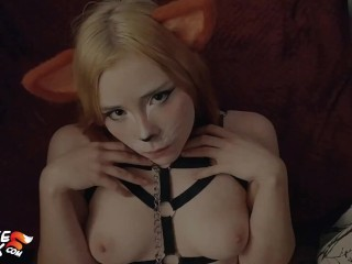 Kitsune Deepthroat Shaft and Cum in Mouth