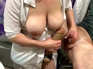 Pegging Beginner with Russian nurse  (Медсестра трахает анал парня)