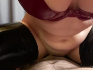 Amateur latex foot play, handjob, and oral creampie with POV