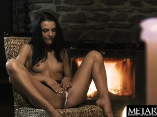 Naked beauty with perfect body masturbates to a powerful orgasm