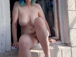 Girl with blue hair dancing and masturbating on the balcony
