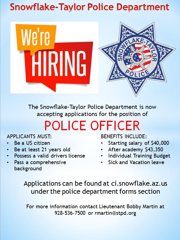 Hiring Flyer - New Officer - Town of Snowflake, Arizona