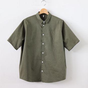 FIRMUM | フィルマム [ FCTS5|ポリエステル&麻ストレッチ平織り スモールカラーワイドシャツ #OLIVE [S9-FR201S5] ]