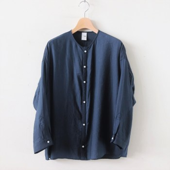 NO CONTROL AIR | ノーコントロールエアー [ NONSH|リヨセル&ナイロンカルゼ ノーカラーワイドシャツ #NAVY BLUE [A9-NC082SF] ]
