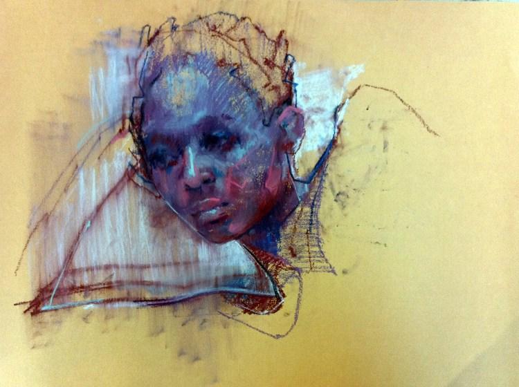 Kwena chalk on paper , 20 x 28 inches