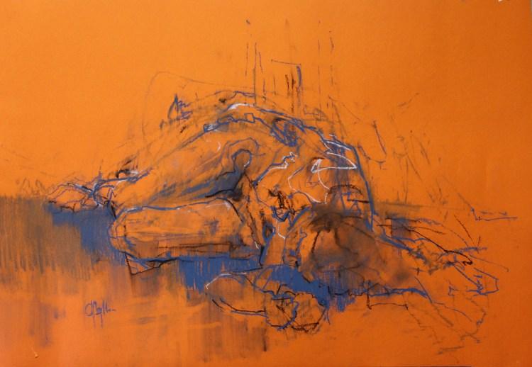 Orange Figure chalk on paper , 23 x 33 inches