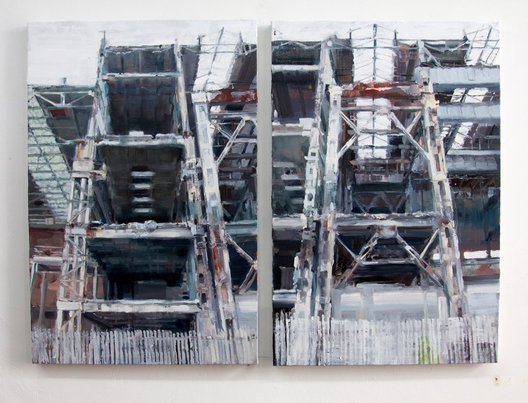 Ruin - oil on canvas on two panels , 36 x 24 inches each