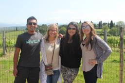 At the wine tasting with Hannah, Shaina, and Karly