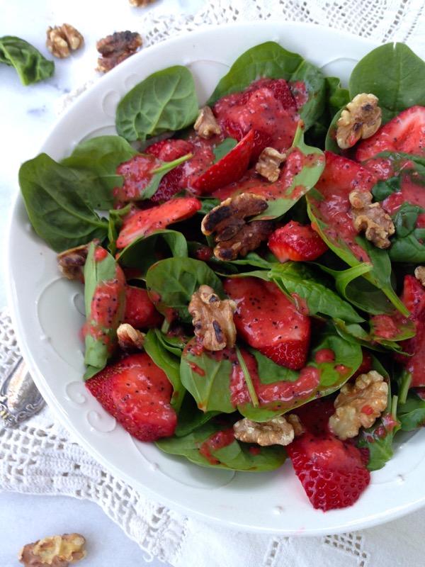 Bowl of Spinach Strawberry Walnut Salad