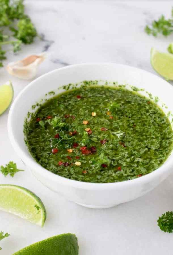 Bowl of Argentinian Chimichurri Sauce with Parsley, Oregano and Red Pepper Flakes