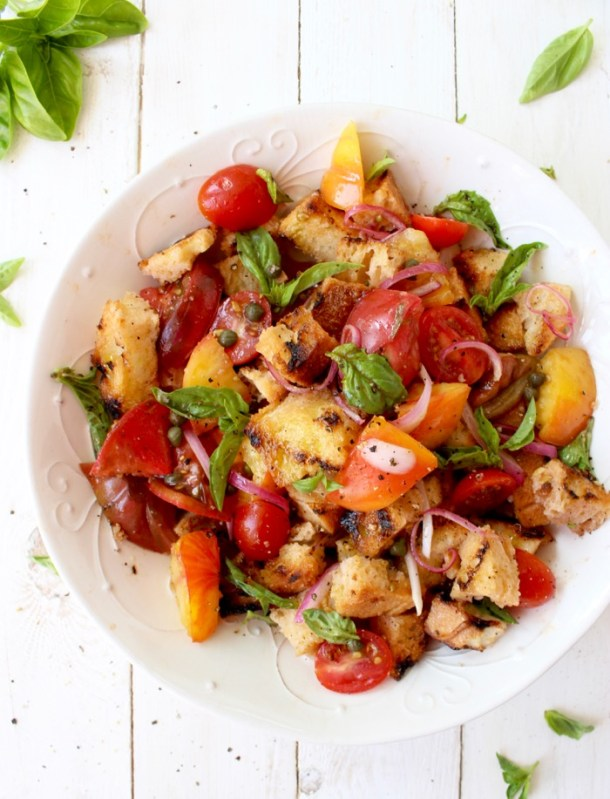 Bowl of Grilled Bruschetta Panzanella Salad with Heirloom Tomatoes and Basil