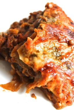 The easiest vegetarian lasagne you will ever make! A few shortcut ingredients make this really easy to assemble with no pre-cooking required, so you can make lasagne any night of the week!