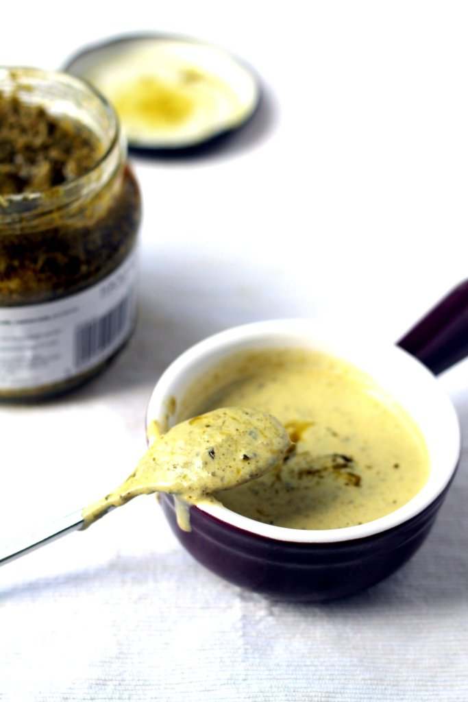 This simple salad dressing takes 5 minutes to whisk together and is deliciously creamy, full of pesto flavor!