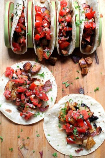 roasted red onion and potato tacos