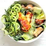 Greek yogurt caesar salad with halloumi