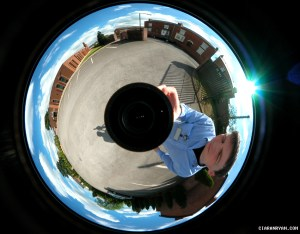 Ciaran Ryan - taking a 360 degree photo - I think in Yorkshire, UK, 2003