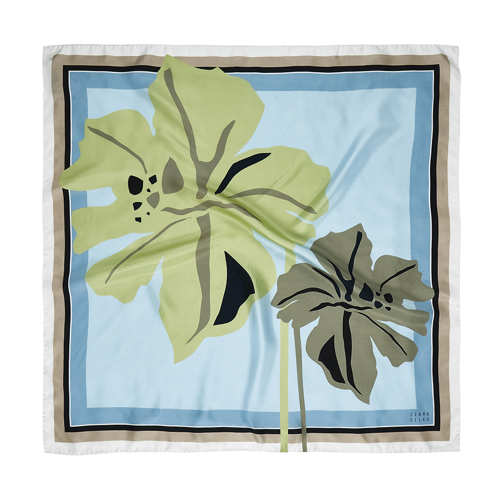 DESIGNER AFRICAN IRIS SCARF IN BABY BLUE, GREY, LIME AND WHITE
