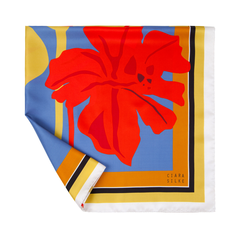 DESIGNER AFRICAN IRIS SCARF IN YELLOW OCHRE, BLOOD RED, CORNFLOWER BLUE, AND BLACK