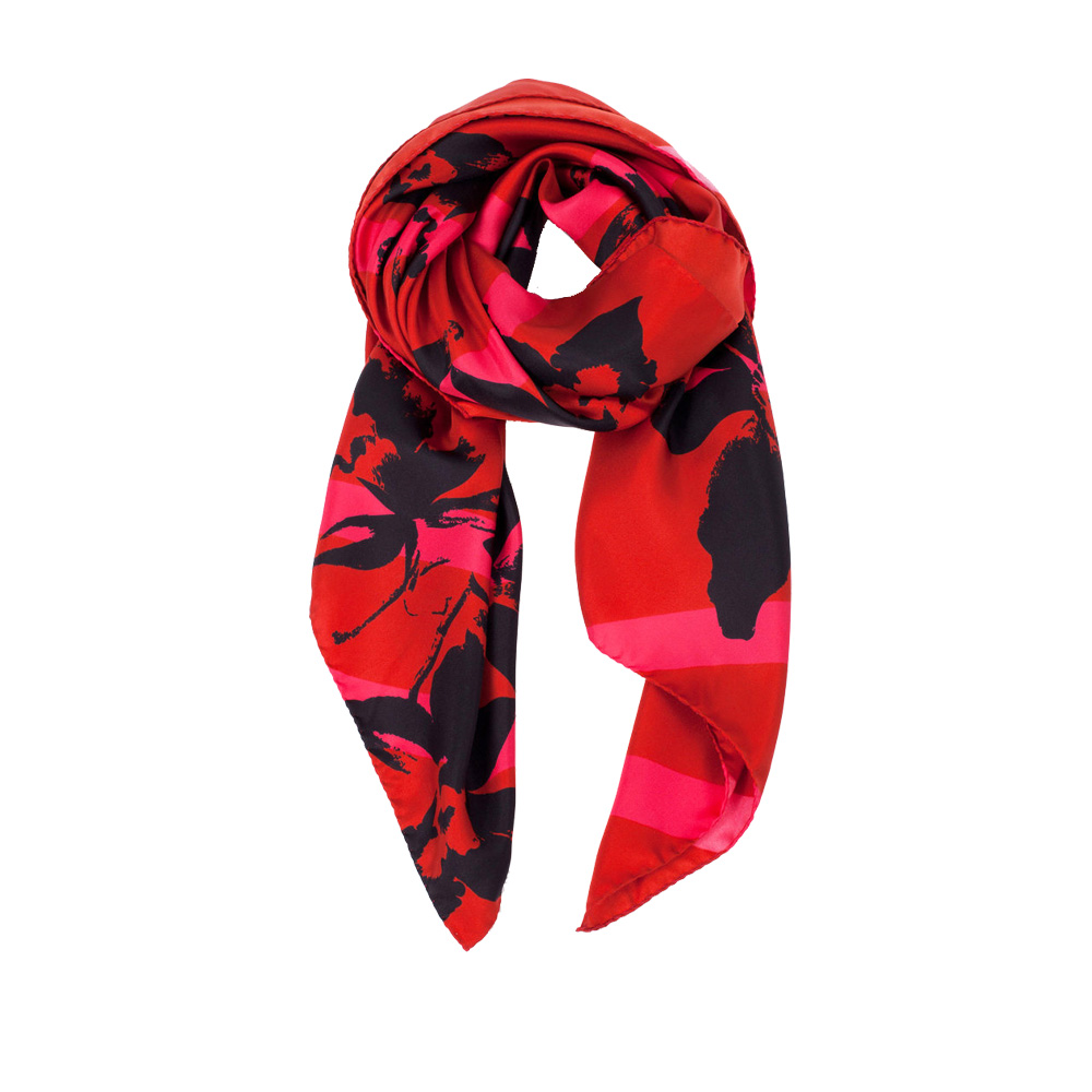 DESIGNER BALMY STRIPE SCARF IN HOT PINK, BURGUNDY AND BLACK